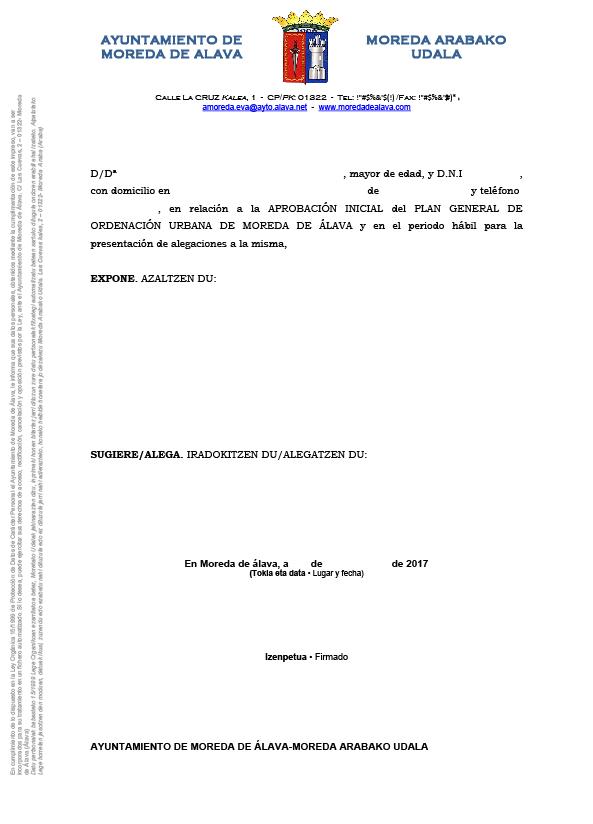 Documento alegación plan general de ordenación urbana