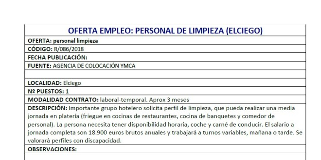 e9cef99ceb492 OFERTA EMPLEO  PERSONAL DE LIMPIEZA (ELCIEGO)