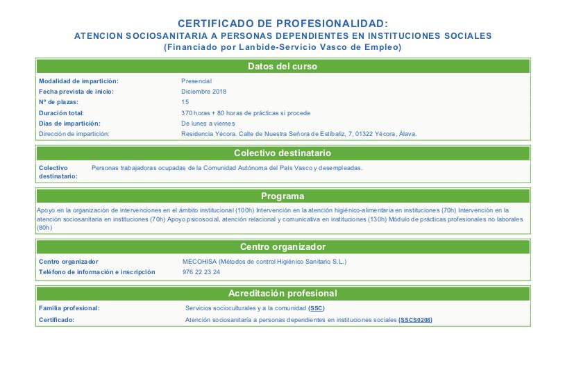CARTEL CERTIFICADO DE PROFESIONALIDAD ATENCION SOCIOSANITARIA INSTITUCIONES SOCIALES-2018