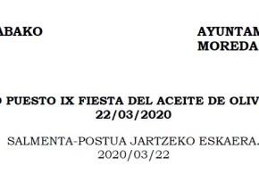 SOLICITUD PUESTO IX FIESTA DEL ACEITE DE OLIVA EN ÁLAVA 22/03/2020